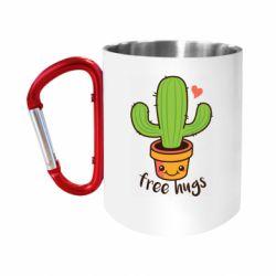"""Кружка с ручкой """"карабин"""" Free Hugs Cactus"""