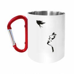 """Кружка с ручкой """"карабин"""" Girl and bird"""