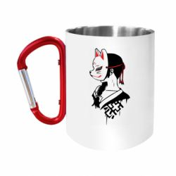 "Кружка с ручкой ""карабин"" Girl with kitsune mask"