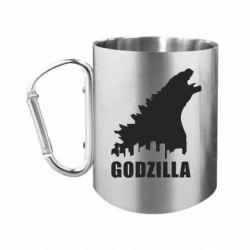 Кружка з ручкою-карабіном Godzilla and city