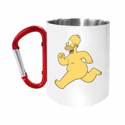 """Кружка с ручкой """"карабин"""" Голый Гомер Симпсон"""