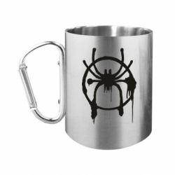 Кружка з ручкою-карабіном Graffiti Spider Man Logo