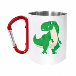 Кружка з ручкою-карабіном Green little dinosaur