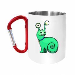 "Кружка с ручкой ""карабин"" Green monster snail"
