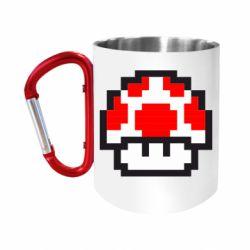"""Кружка с ручкой """"карабин"""" Гриб Марио в пикселях"""
