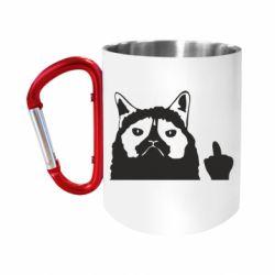 Кружка з ручкою-карабіном Grumpy cat F**k Off