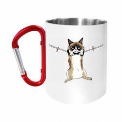 "Кружка с ручкой ""карабин"" Grumpy Cat On The Rope"