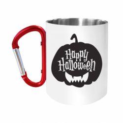 Кружка з ручкою-карабіном Happy halloween smile