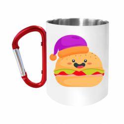 "Кружка с ручкой ""карабин"" Happy hamburger"