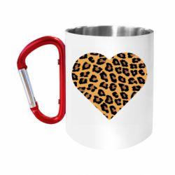 "Кружка с ручкой ""карабин"" Heart with leopard hair"