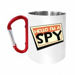 Кружка з ручкою-карабіном Hello i'm a spy