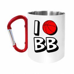 """Кружка с ручкой """"карабин"""" I love basketball"""