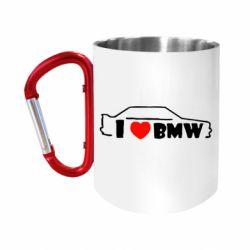 "Кружка с ручкой ""карабин"" I love BMW"