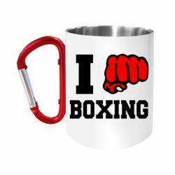 """Кружка с ручкой """"карабин"""" I love boxing"""