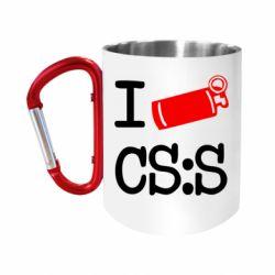 """Кружка с ручкой """"карабин"""" I love CS Source"""