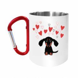 Кружка з ручкою-карабіном I love dachshund