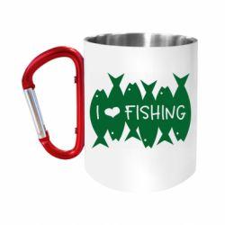 Кружка з ручкою-карабіном I Love Fishing