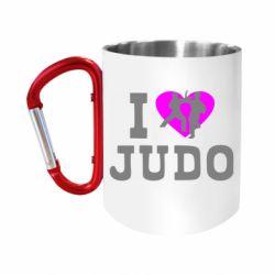 """Кружка с ручкой """"карабин"""" I love Judo"""