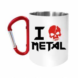 "Кружка с ручкой ""карабин"" I love metal"