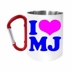 """Кружка с ручкой """"карабин"""" I love MJ"""