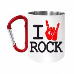 """Кружка с ручкой """"карабин"""" I love rock"""