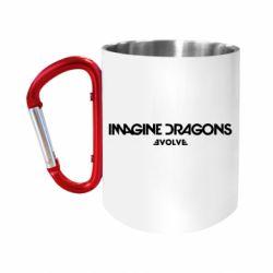 """Кружка с ручкой """"карабин"""" Imagine dragons: Evolve text logo"""
