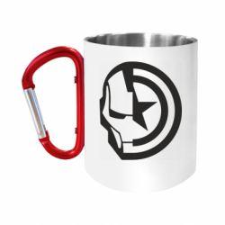 Кружка з ручкою-карабіном Iron Man and Captain America