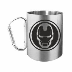 Кружка з ручкою-карабіном Iron man symbol