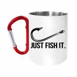 Кружка з ручкою-карабіном Just Fish It