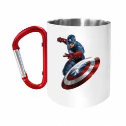 "Кружка с ручкой ""карабин"" Капитан Америка"