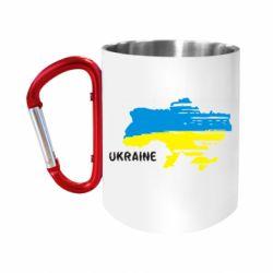 """Кружка с ручкой """"карабин"""" Карта України з написом Ukraine"""