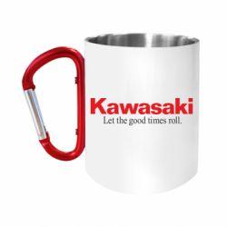 Кружка з ручкою-карабіном Kawasaki. Let the good times roll.