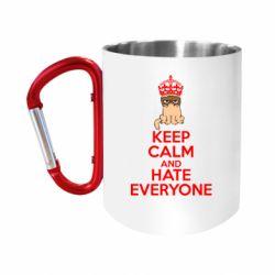 "Кружка с ручкой ""карабин"" KEEP CALM and HATE EVERYONE"