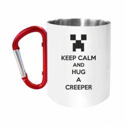 """Кружка с ручкой """"карабин"""" KEEP CALM and HUG A CREEPER"""
