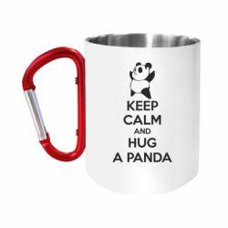 Кружка з ручкою-карабіном KEEP CALM and HUG A PANDA
