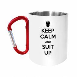 "Кружка с ручкой ""карабин"" Keep Calm and suit up!"