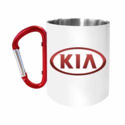 Кружка з ручкою-карабіном KIA 3D Logo