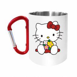 """Кружка с ручкой """"карабин"""" Kitty с букетиком"""