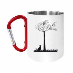 """Кружка с ручкой """"карабин"""" Кот прыгает на дерево"""
