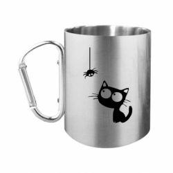 Кружка з ручкою-карабіном Котик і павук