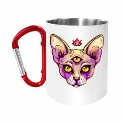 Кружка з ручкою-карабіном Котик сфінкс рожевий
