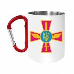 """Кружка с ручкой """"карабин"""" Крест з мечем та гербом"""
