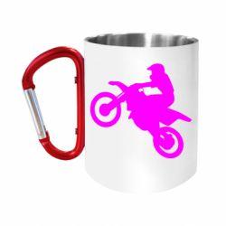 Кружка з ручкою-карабіном Кросовий мотоцикл