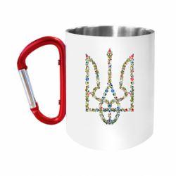 """Кружка с ручкой """"карабин"""" Квітучий герб України"""