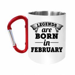 "Кружка с ручкой ""карабин"" Legends are born in February"