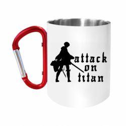 Кружка з ручкою-карабіном Levi from Attack on Titan