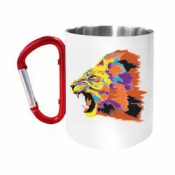 """Кружка с ручкой """"карабин"""" Lion multicolor"""