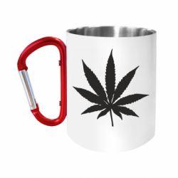Кружка з ручкою-карабіном Листочок марихуани