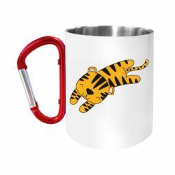 "Кружка с ручкой ""карабин"" Little striped tiger"