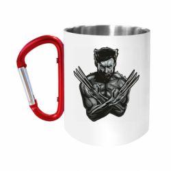 """Кружка с ручкой """"карабин"""" Logan Wolverine vector"""